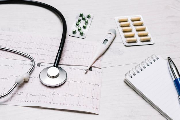 Termómetro de primer plano y píldoras cerca de estetoscopio y cardiograma