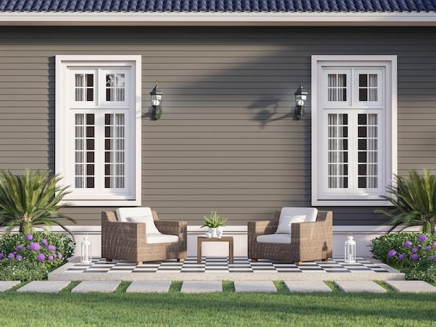 Terraza exterior con fondo de pared de tablón gris vacío render 3d decorado con sillas de mimbre