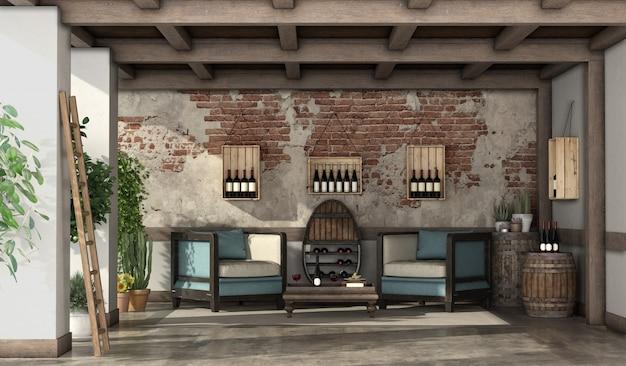 Terraza rústica para degustación de vinos.