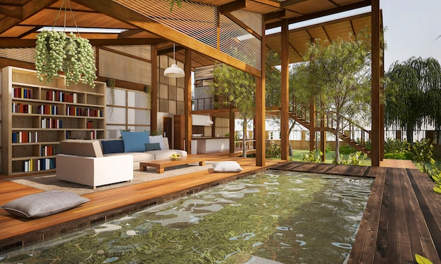 Terraza y salón de madera contemporánea con piscina, por ejemplo, buena composición de muebles cerca de la terraza de madera y sala
