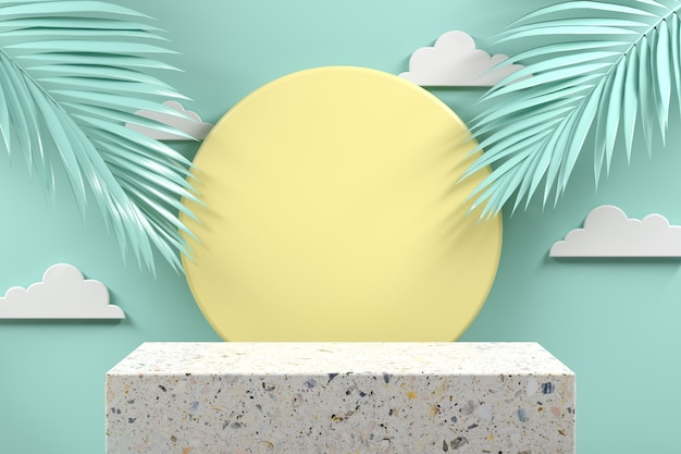 Terrazzo de podio de maqueta mínima con hoja de palma sobre fondo abstracto pastel menta render 3d