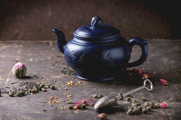 Tetera y hojas de té