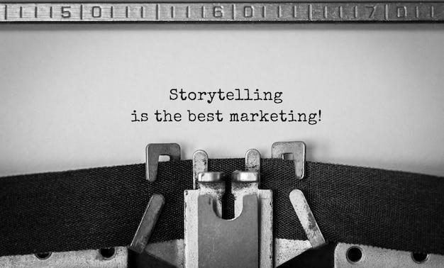 Text storytelling es el mejor marketing escrito en máquina de escribir retro
