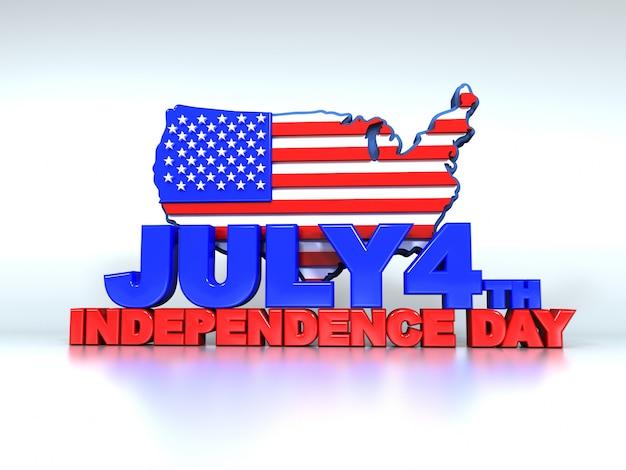 Texto en 3d el 4 de julio en blanco y el mapa de los estados unidos detrás.