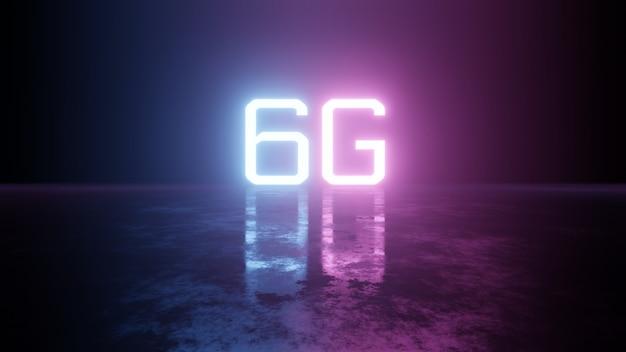 Texto 5g de color brillante brillante con reflejo en el piso del grunge