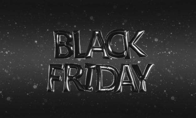 Texto black friday hecho de globos de aluminio