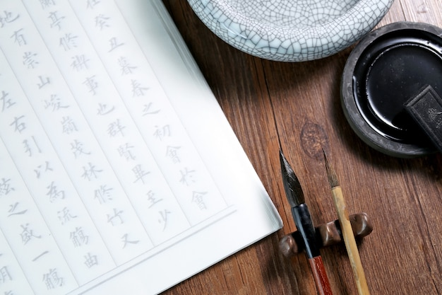 Texto chino de la escena de la caligrafía: prosa antigua china