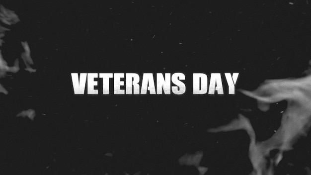 Texto del día de los veteranos sobre fondo militar con humo oscuro. ilustración 3d elegante y de lujo para plantilla militar y de guerra