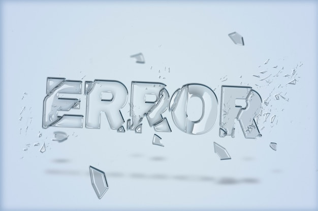 Texto de error en fuente de vidrio roto