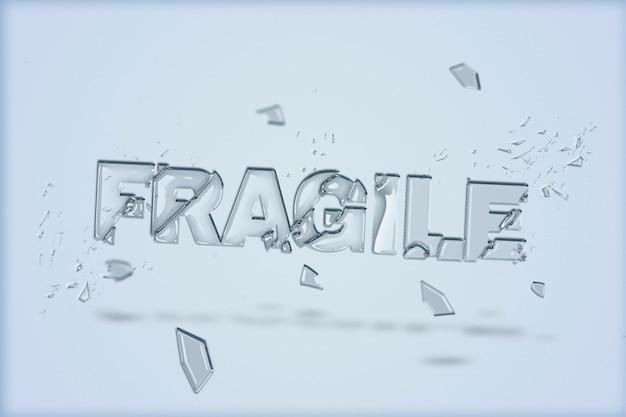 Texto frágil en fuente de vidrio roto