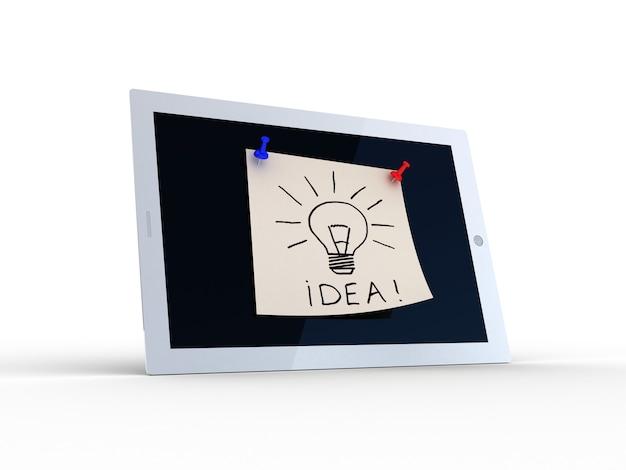 Texto de idea en la pantalla de la tableta, ilustración 3d