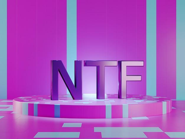 Texto de ntf sobre fondo violeta de tecnología vívida. token no reembolsable. render 3d.