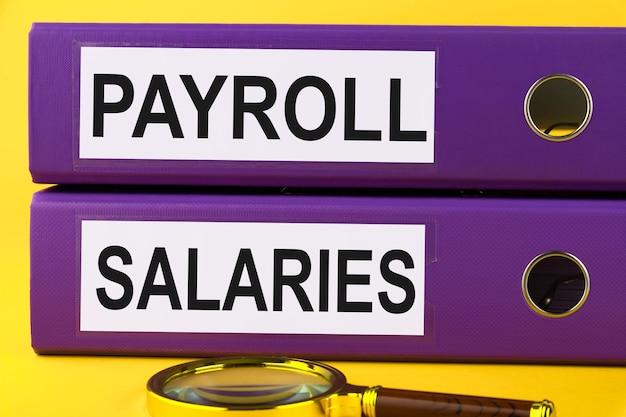 Texto, palabra nómina, sueldos, está escrito en una carpeta sobre documentos en un escritorio de oficina. concepto de negocio.