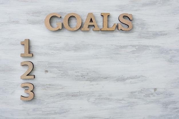 Texto palabras metas y números 1, 2, 3