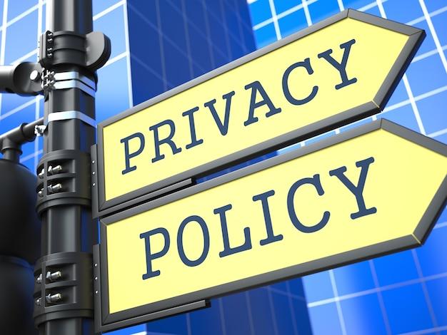 Texto de la política de privacidad waymark sobre fondo azul
