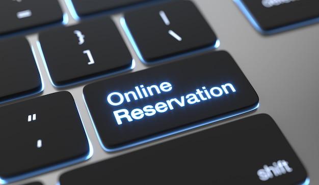 Texto de reserva en línea escrito en el botón del teclado. concepto de reserva en línea.