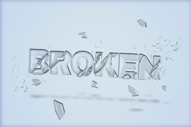 Texto roto en fuente de vidrio roto