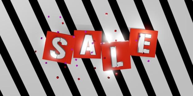 Texto de venta sobre fondo blanco y negro rayas diagonales patrón de cebra ilustración 3d