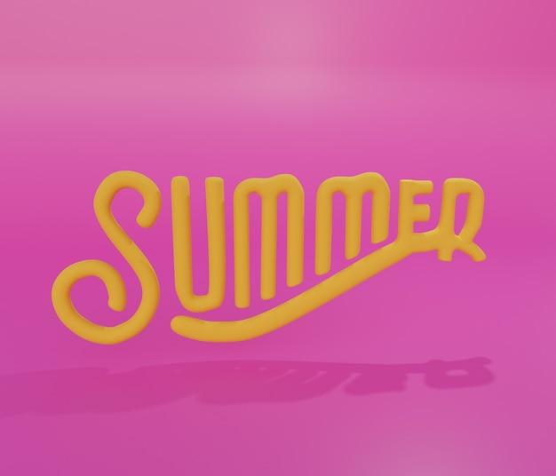 Texto de verano, redacción en 3d