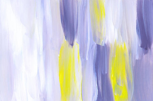 Textura abstracta del fondo de la pintura del arte púrpura, blanco y amarillo
