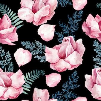 Textura de acuarela transparente con delicados capullos de rosa y hojas de helecho azul