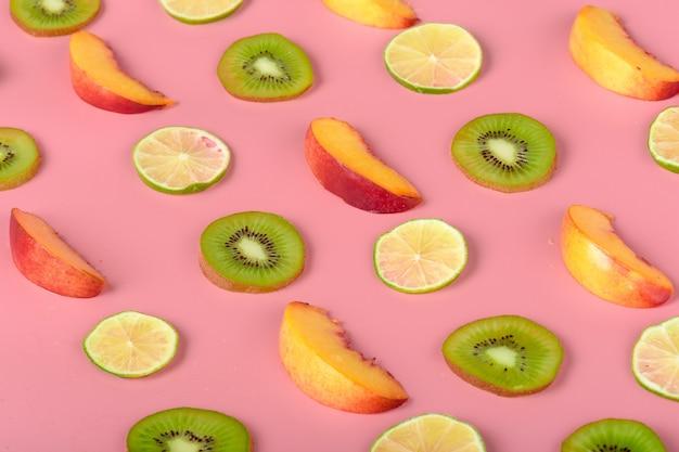 Textura de los alimentos. patrón sin fisuras de varias frutas frescas.