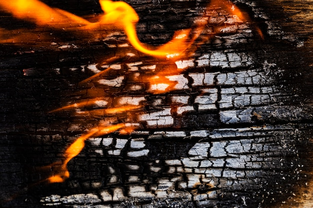 Textura del cierre encima de la placa de madera, mientras que quema de encendido.