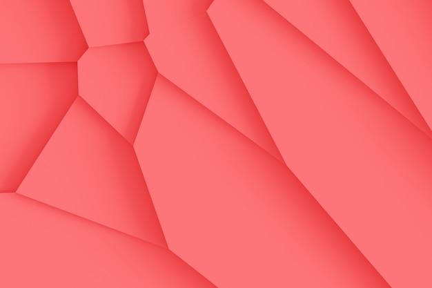 Textura digital ligera de bloques de diferentes tamaños de diferentes formas que se elevan uno encima del otro, proyectando sombras ilustración 3d de color coral vivo