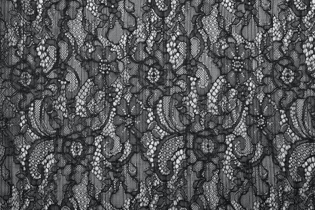 Textura de fondo de encaje negro calado. guipur negro. tela negra con adorno. fondo de encaje negro con patrón con forma de flor