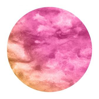 Textura de fondo de marco circular acuarela dibujada mano rosa y naranja con manchas