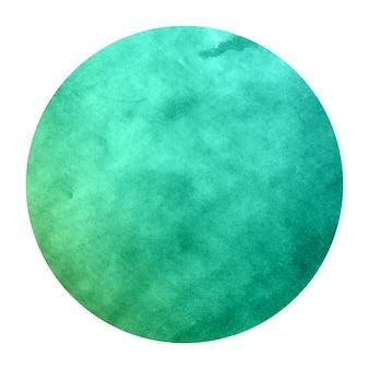 Textura de fondo de marco circular acuarela dibujada mano turquesa con manchas