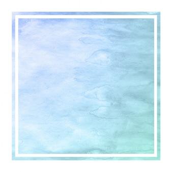 Textura de fondo de marco rectangular acuarela dibujada mano azul frío con manchas