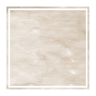 Textura de fondo de marco rectangular acuarela dibujada mano marrón con manchas