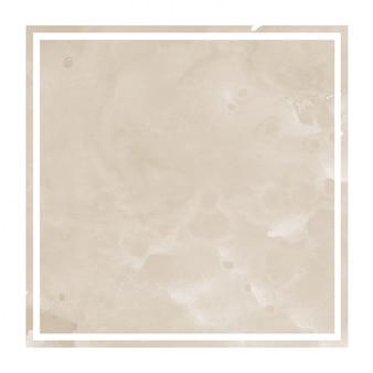 Textura de fondo de marco rectangular acuarela dibujada a mano marrón con manchas