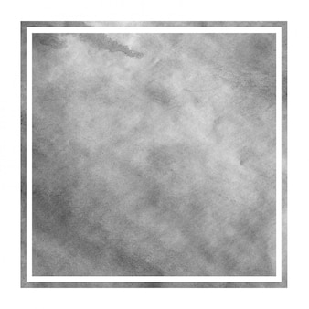 Textura de fondo de marco rectangular acuarela dibujada mano monocromo con manchas