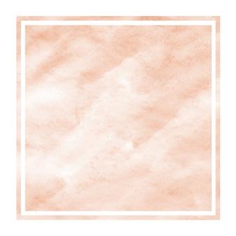 Textura de fondo de marco rectangular acuarela dibujada mano naranja con manchas