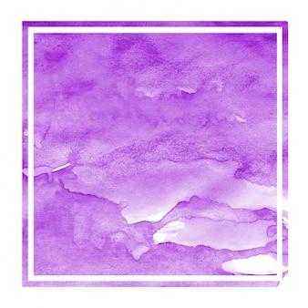 Textura de fondo de marco rectangular acuarela dibujada mano púrpura con manchas