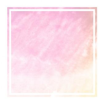 Textura de fondo de marco rectangular acuarela dibujada mano rosa y naranja con manchas