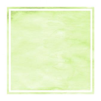 Textura de fondo de marco rectangular acuarela dibujada mano verde claro con manchas