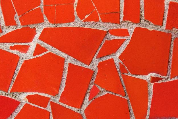 Textura y fondo de mosaico rojo. de cerca.