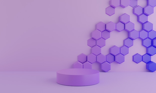 Textura de fondo púrpura abstracto hexagonal con forma geométrica. maqueta mínima y concepto de escena de podio pastel púrpura. diseño para producto de visualización, renderizado 3d