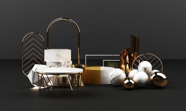 Textura geométrica de mármol blanco y dorado con inoxidable con grupo de objetos de vidrio conjunto 3d render escena abstracta podio en blanco