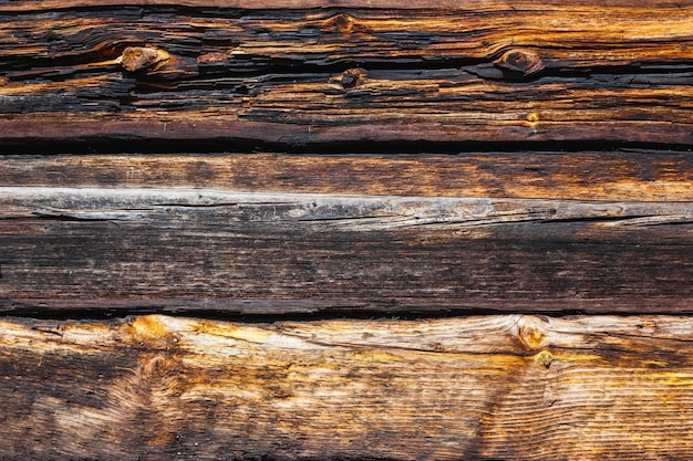 Textura de grandes troncos de una casa de madera.