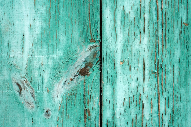 Textura gruesa del viejo fondo rústico de madera con peladura de pintura verde clara.