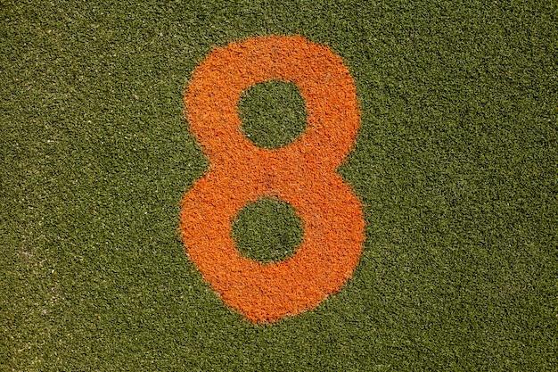 Textura de hierba con el número ocho
