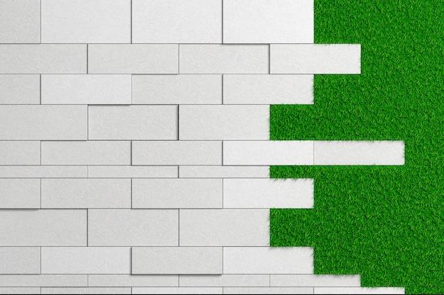 Textura de losas de diferentes tamaños de hormigón en bruto sobre un césped verde.