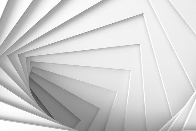 Textura de luz blanca mínima tridimensional abstracta de un conjunto de pasos cuadrados rectos en espiral. ilustración 3d.