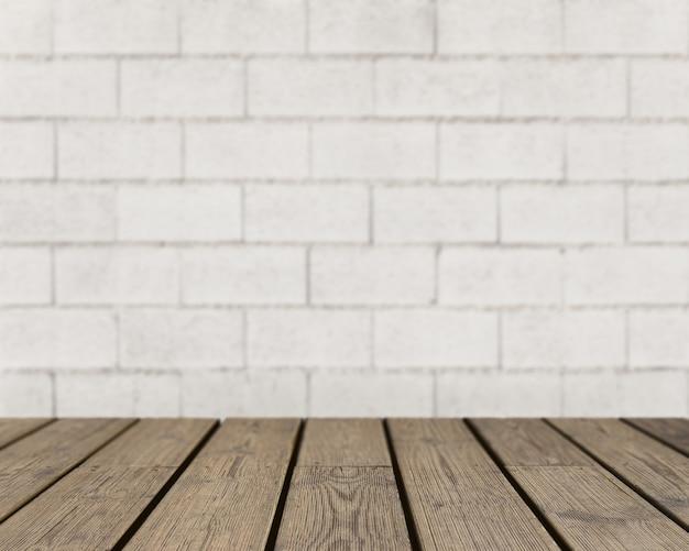 Textura de madera mirando hacia pared de ladrillo