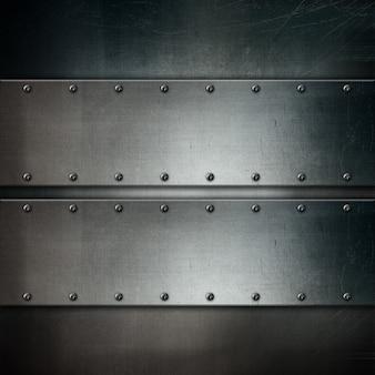 Textura metálica con placas de metal de estilo grunge y tornillos