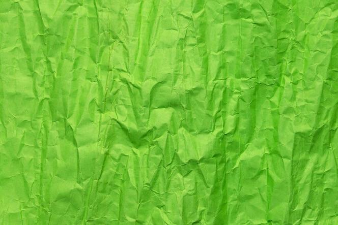 Textura de papel arrugado verde, fondo grunge